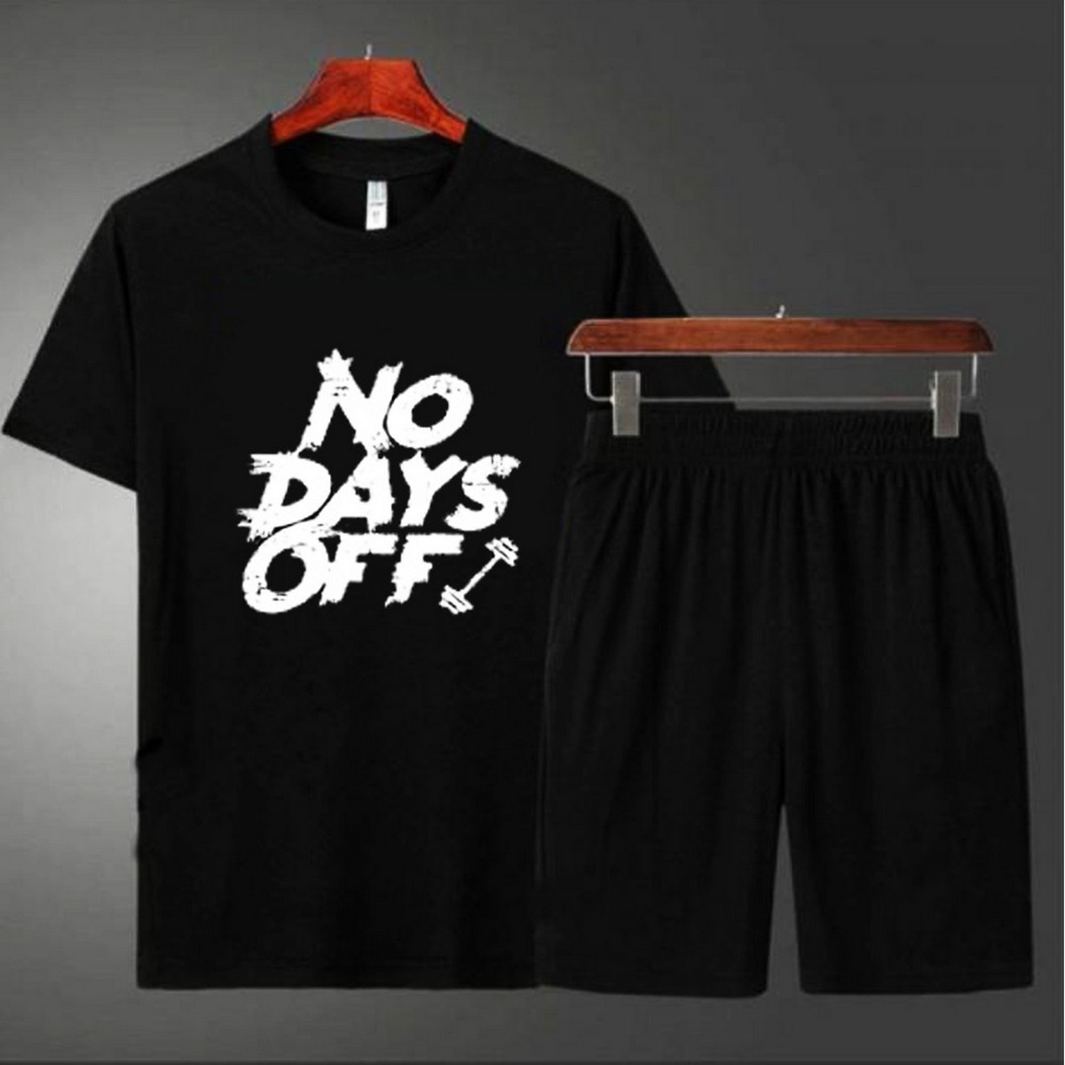 No Days Off Printed Black Tshirt Casual Boxer Shorts Summer Wear Tees Best Quality Pack of 2 T shirt & short For Men