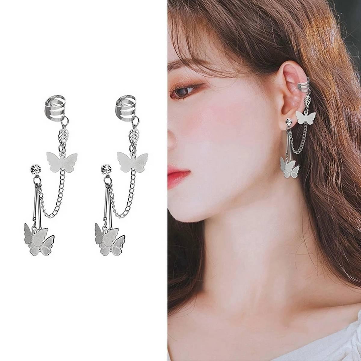Earcuff / 1pair(2pc) new arrival Fashion Butterfly Tassel Chain Ladies Ear Clips Women Girls Earrings Jewelry