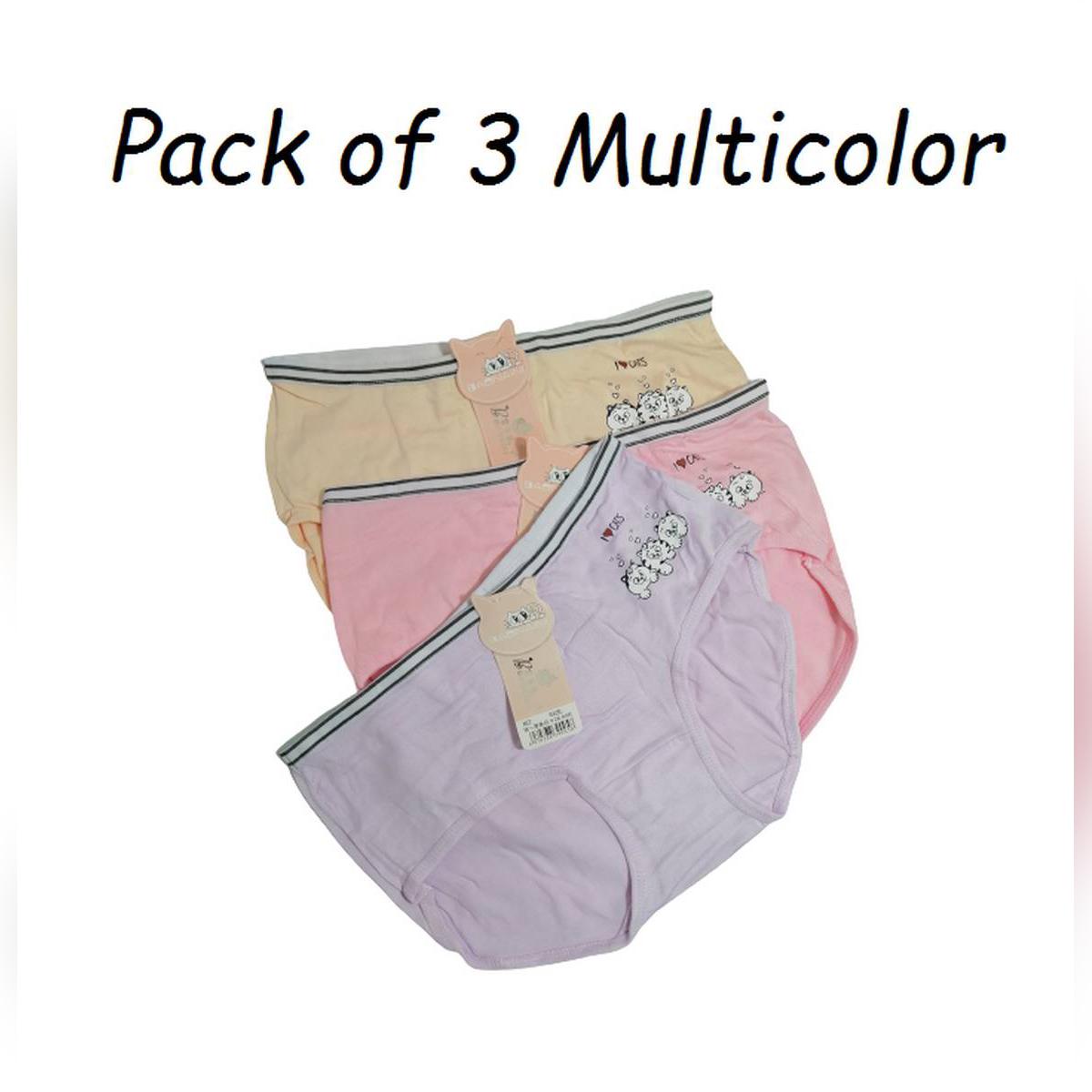 Pack Of 3 Girl Briefs Women'S Panties Cotton Cat Print Underwear Female Casual Cartoon Underpants Ladies Lingerie Teenager Panty Multicolor