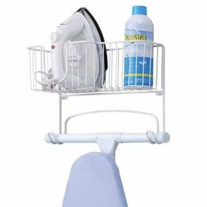 Luxury Wall Mount Ironing Board Holder with Large Storage Basket - Holds Iron, Board, Spray Bottles, Starch, Fabric Refresher for Laundry Rooms - White