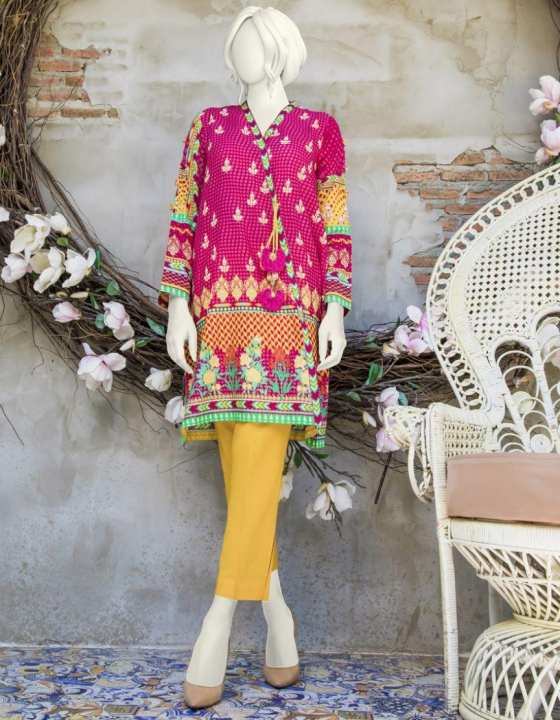 Junaid Jamshed Summer Collection 2019 HOT PINK Lawn Unstitched 1 Pc Suit for Women