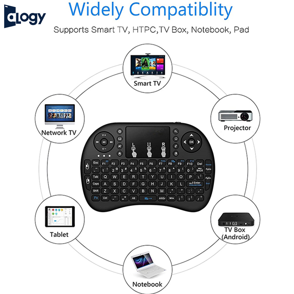 ALOGY Mini Wireless Keyboard With Bluetooth Dongle RGB Backlit, 2.4GHz Rechargeable Controller with Touchpad Mouse Combo, Compatible with IPTV, HTPC, Smart TV, Android TV Box, PC, etc - Black