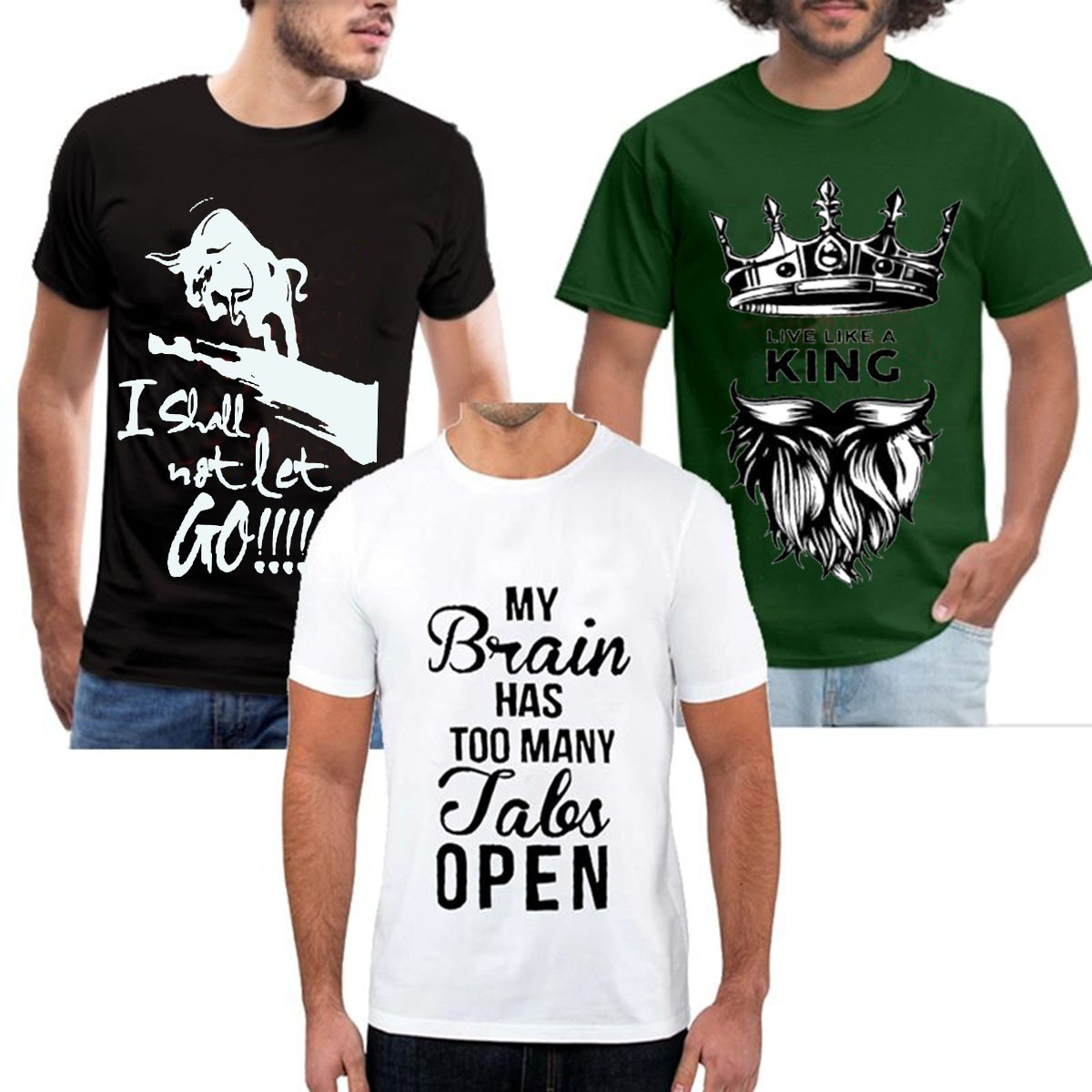 Pack Of 3 Half Sleeves Printed T-shirts For Men