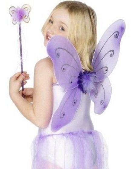 3Pc Set Girls Fairy Costume Butterfly Party Wings Wand Headband Kids Fairy Princess Girls