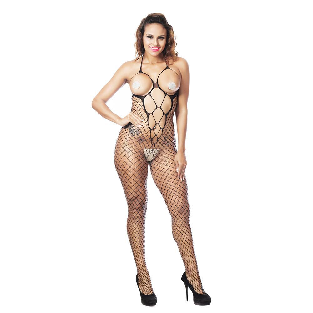 0fae84b49f6 VAKIND Women Sexy Halter Fishnet Lingerie Crotchless Bodystocking Cupless