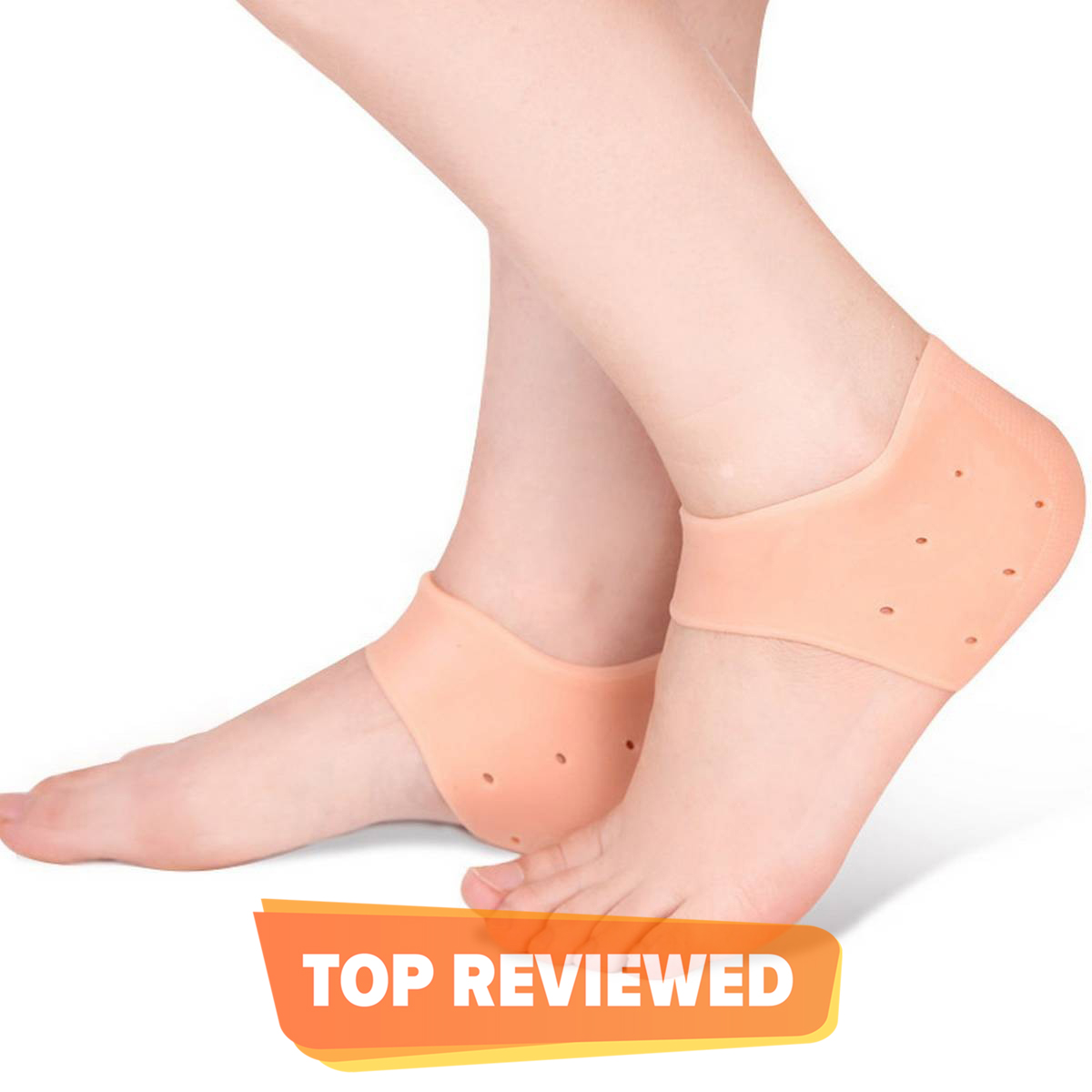 1 Pair(2 Pieces)Silicon Gel Heel Pad, Heel Silicon Pads, Silicon Heel Pads, Heel Anti Crack Set, Silicone Gel Heel Pad Socks, Gel Heel Pads, Heel Gel Pad, Strong & Breathable Heel Cups for [Fast Heel Pain Relief], Blister, Heel Protectors for Men & Women