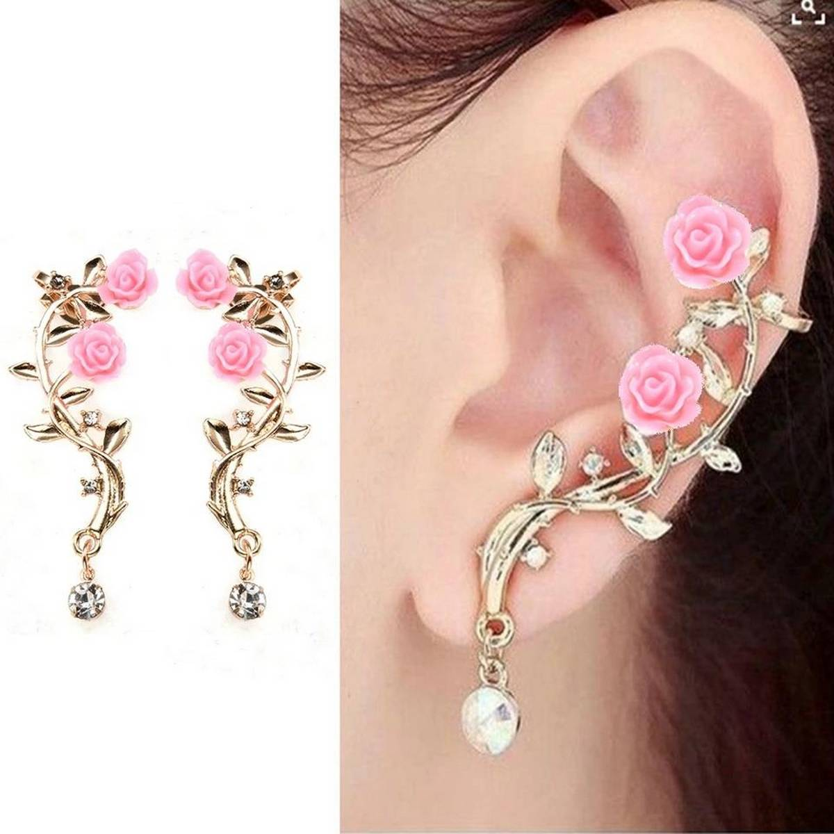 New FaShion Gold Plated Pink Rose Ear cuff One Earrings for Weddings, party's and Events