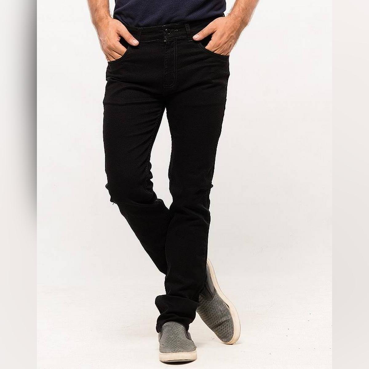 Oxford Black Plain Denim Jeans for Men