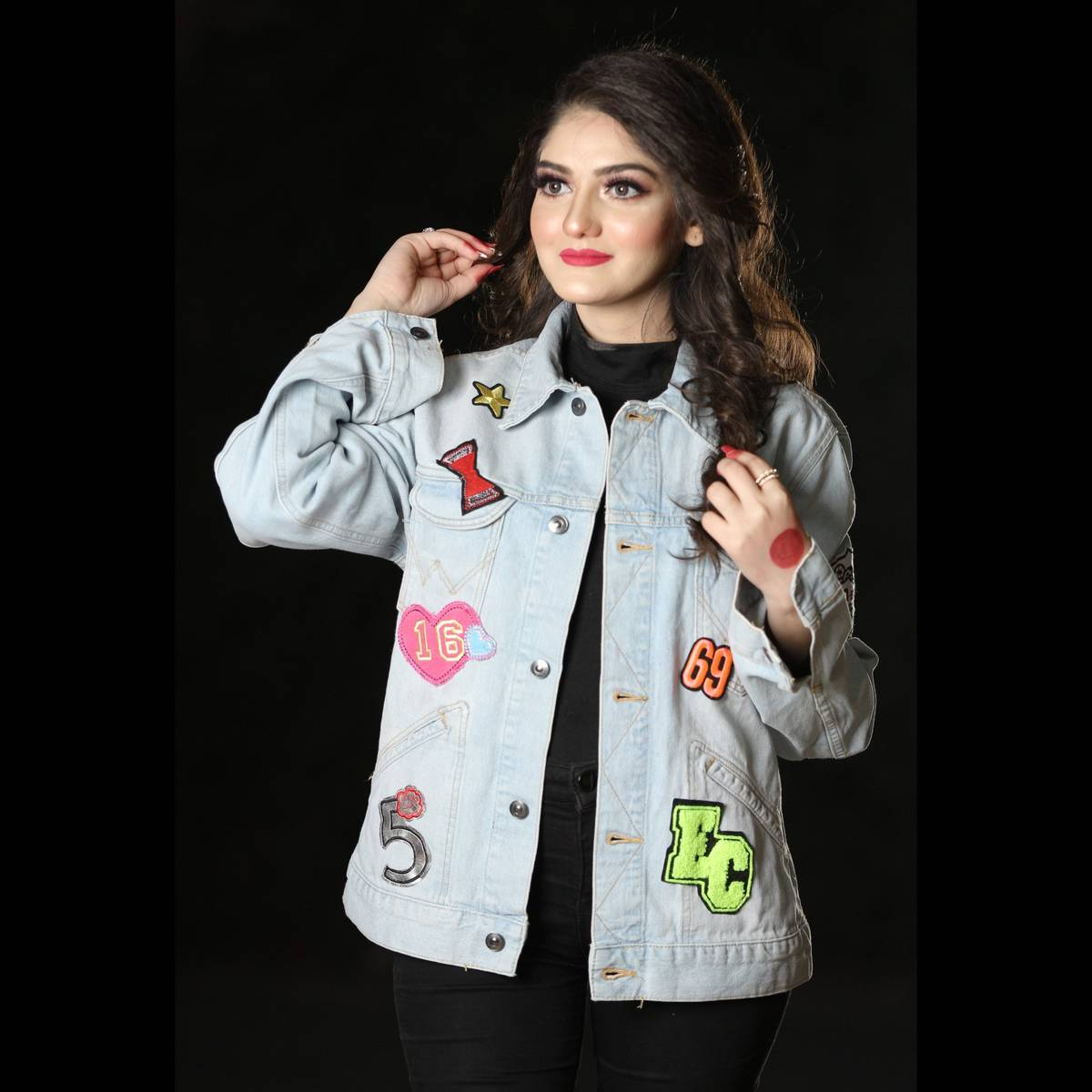 LA CASA Denim Jacket For Women - Jeans Jacket with Iron on Embroidered Patch Sew on Badge