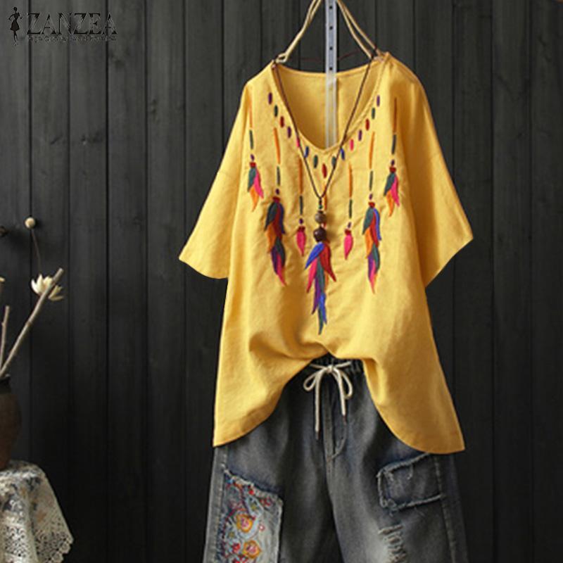 117a67e9f81b9 ZANZEA New Womens Short Sleeve Floral Casual Tops Ladies Loose Blouse Tunic  T-Shirt