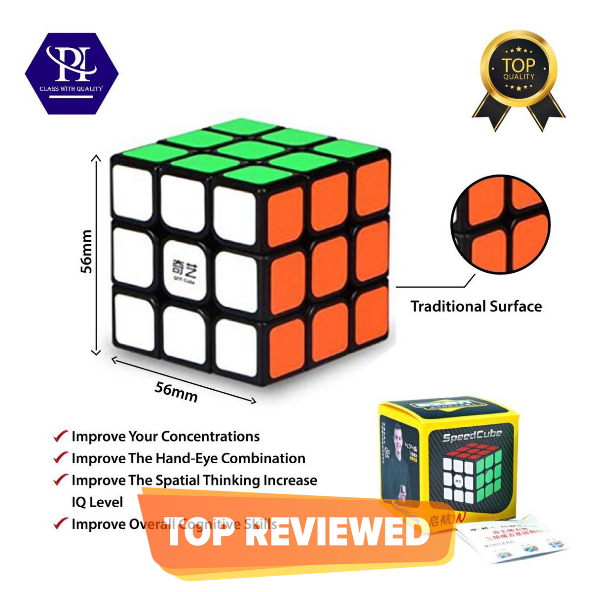 Qiyi Warriors Fast Speed Rubiks Cube (Classic colors) Smooth Logo- 3x3 Quality Stickerless Magic Speed Cube-3x3x3 Puzzle Toys (56mm),The Most Educational Toy- Rubik's Cube