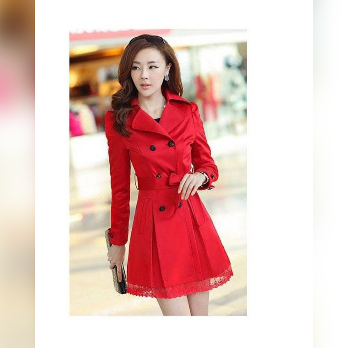 Stylish Trench Double Button Lace Ladies Coat For Winter