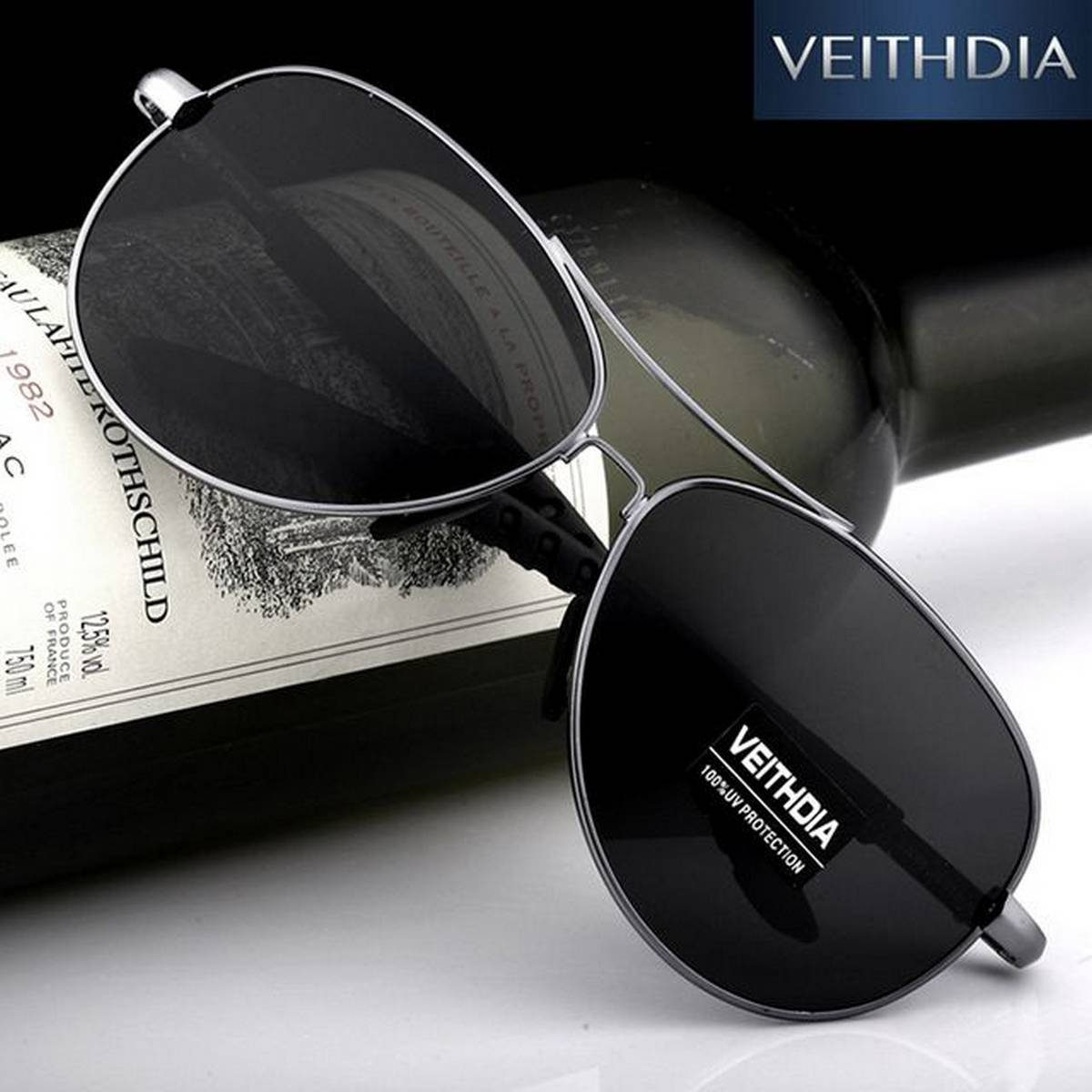 Best Quality New Aviator Design Black Color Stylish Sunglasses with Silver Frame For Men/Women