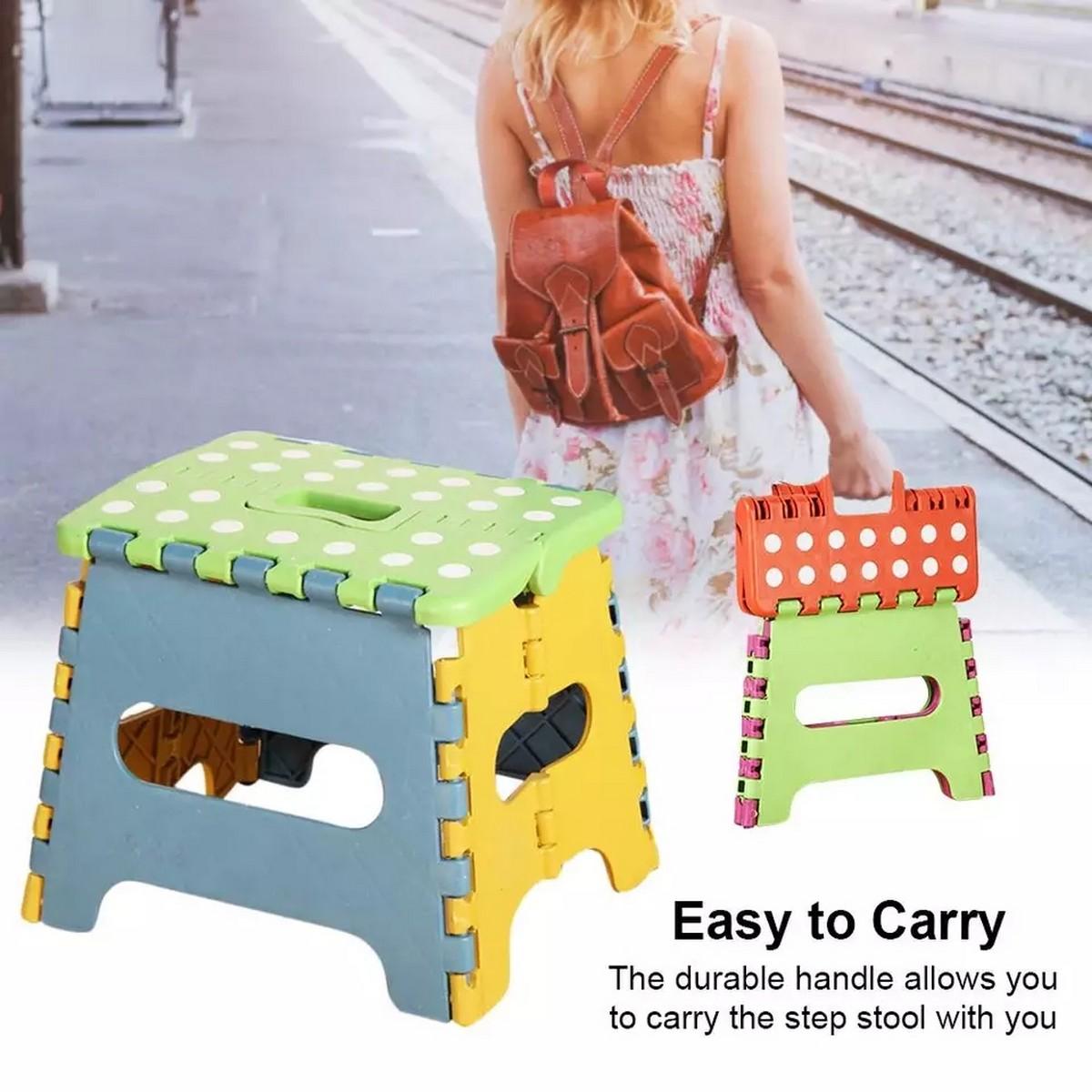 Lightweight Folding Step Stool Plastic Durable Easy Foldable Plastic Chair (Random Colour) -Small Size(19cm x 19cm x 25cm )