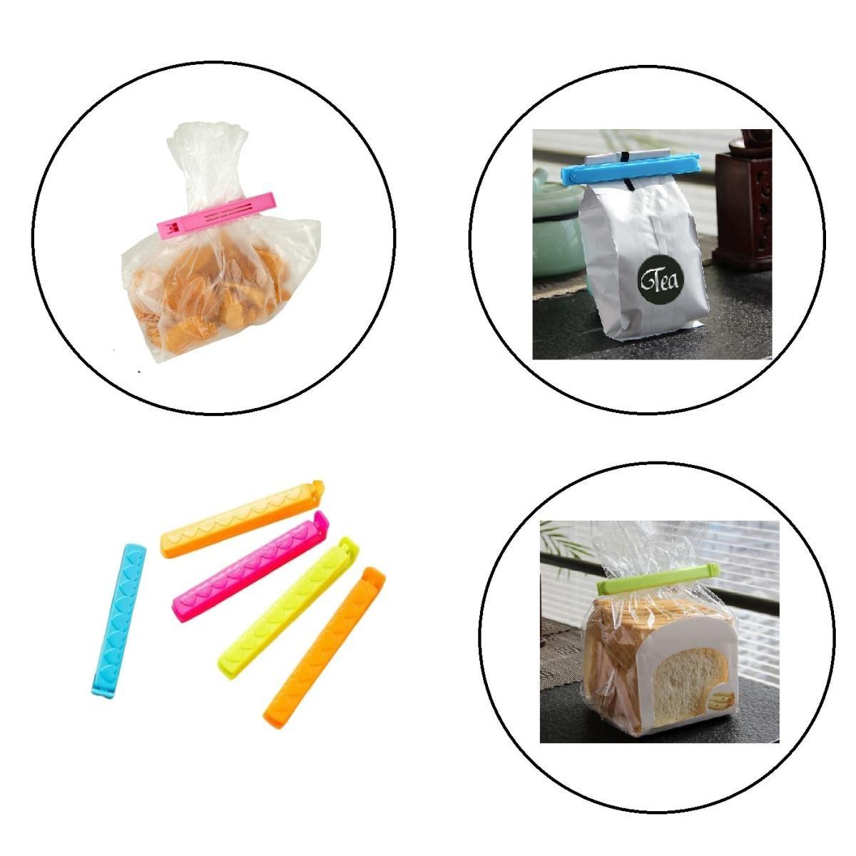 Pack of 5 - Multicolor Reusable Plastic Food Snack Storage Seal Sealing Bag Clips Sealer Clamp Plastic Tool