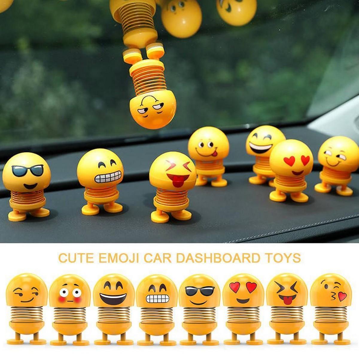 Pack of 6 - Emoji Mini Shaking Head Car Ornament Dolls - Funny Smile Face Springs Dancing Toys Car