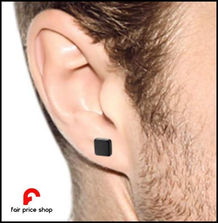 Black Alloy Magnet Tops - Magnetic Square Earrings for Men