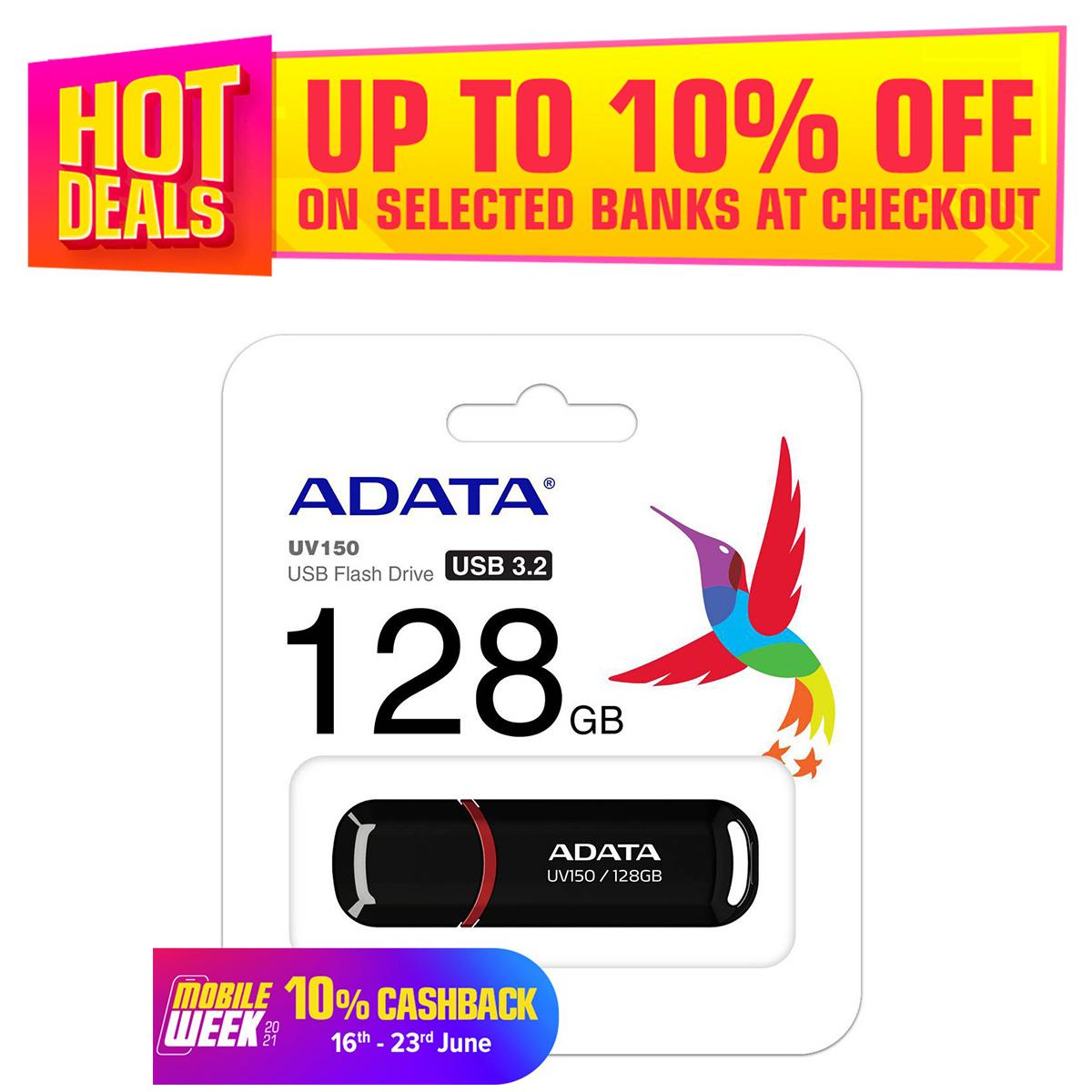 Adata 128GB UV150 USB 3.2 Gen 1 Flash Drive - Black & Red