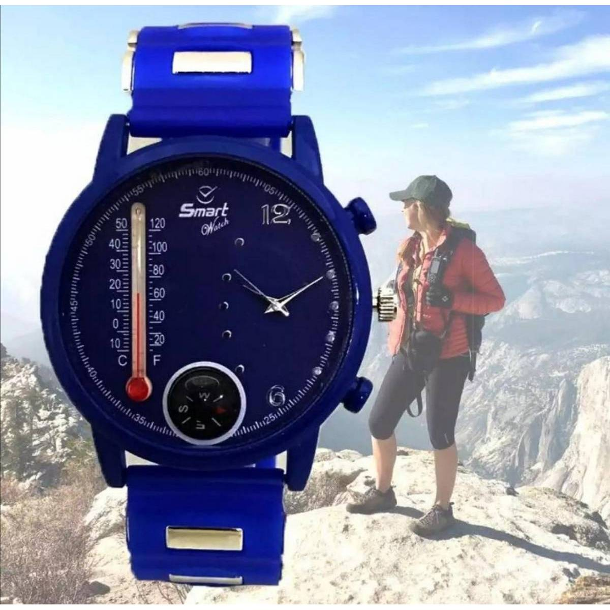 Blue watch Temperature - Stylish High Quality Water Proof Men Round Case Rubber Strap Watch for Gift Party Casual Wear - ( APK )