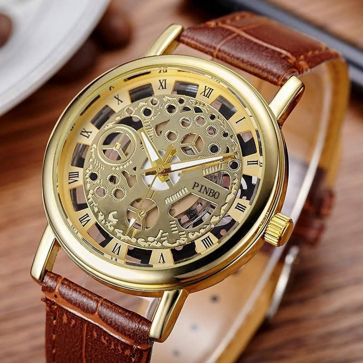 Double Sided Glass Golden  Watch for Men / Women / Girls / Boys