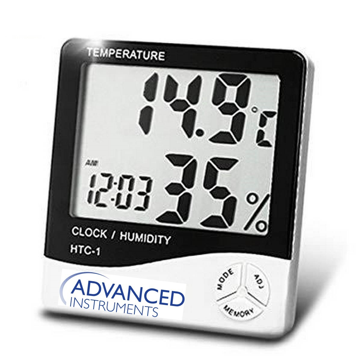 Advanced Instruments HTC-1 Electronic Temperature Humidity Meter, For Medical Indoor Room LCD Digital Thermometer Hygrometer Weather Station Alarm Clock