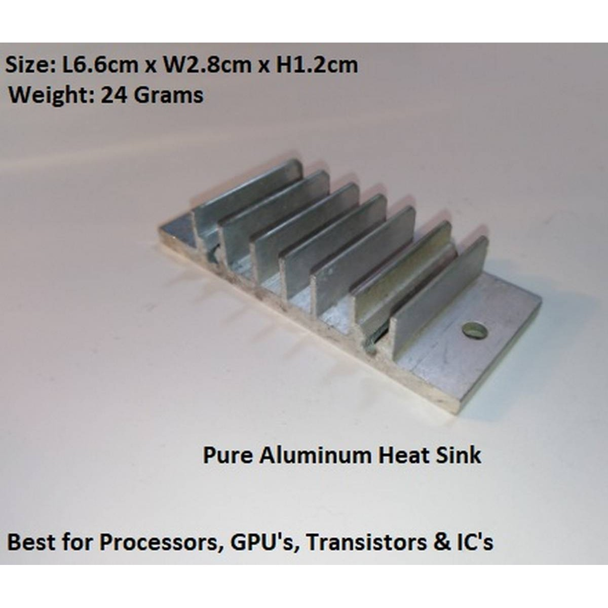 High Quality Pure Aluminum Heat Sink Cooler Cooling fin - Heatsink for Peltier, IC, LED's Transistor, RAM - Size: L6.6cm x W2.8cm x H1.2cm