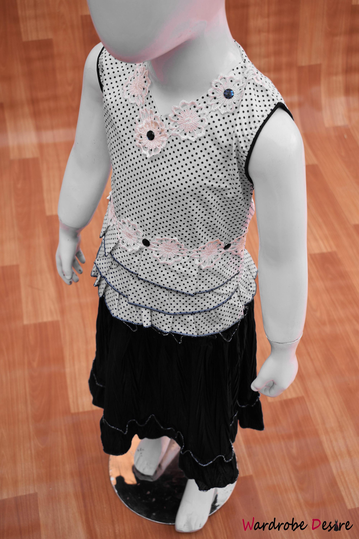 Fabulous Baby Girls Skirt Dress Ghaghra Choli Style-Black