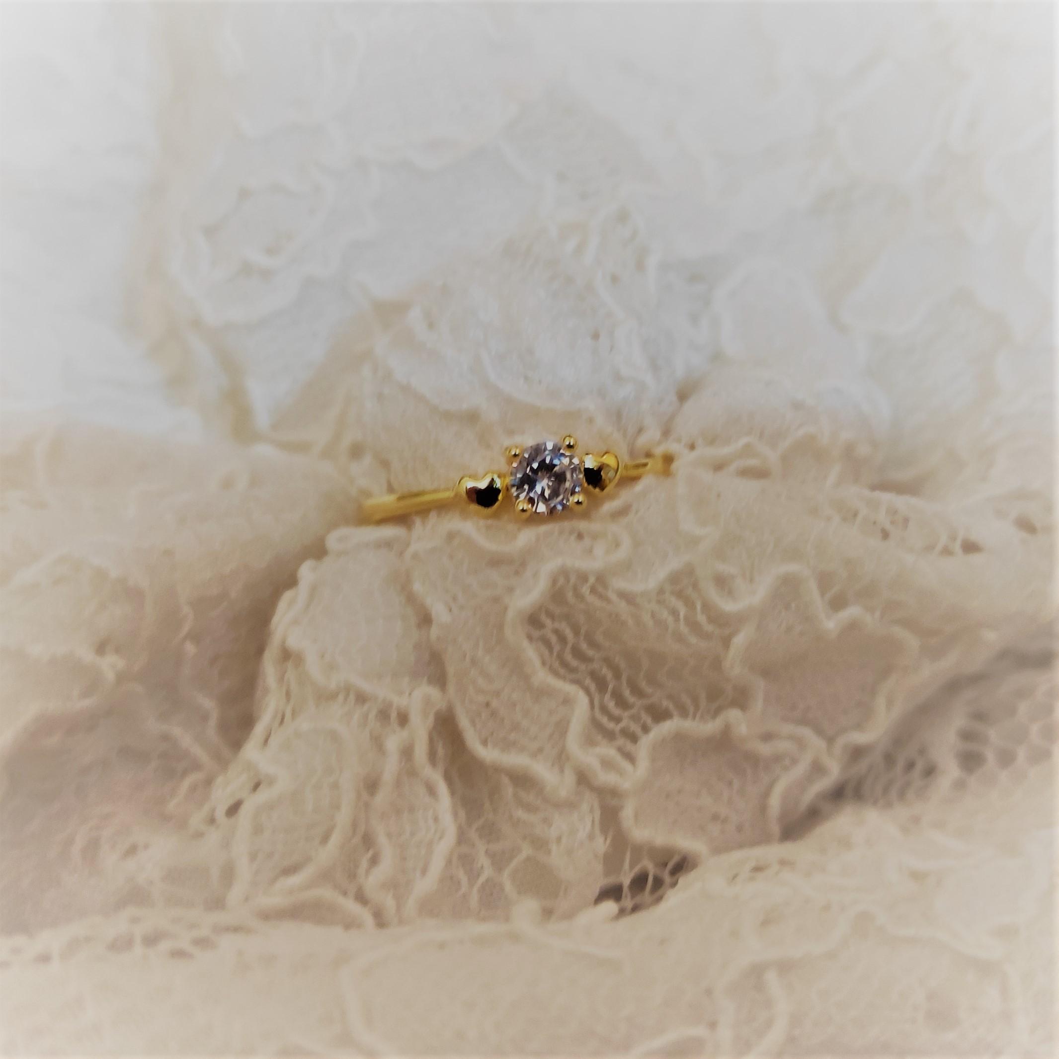Golden Heart Diamonte Engagement Ring for Girls Size 16