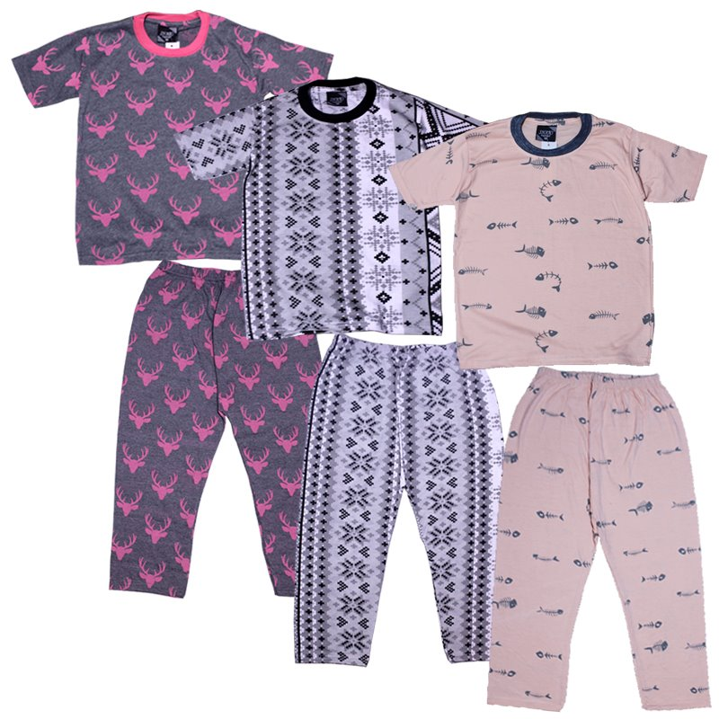 Packs of 3 - 2 Piece T-shirt & Pajama Printed Suit For Kids