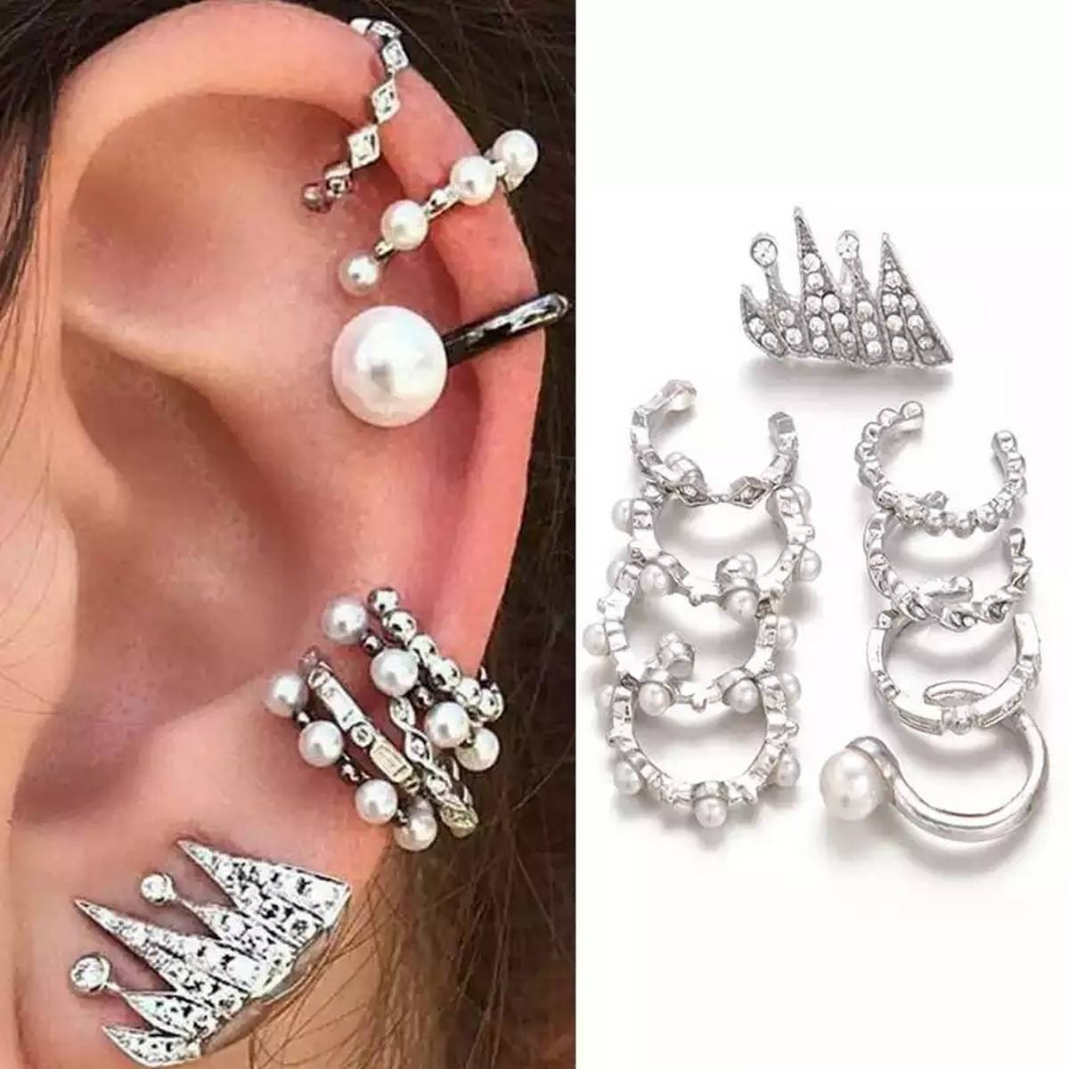 Trend Silver Plated 9 Pcs set of Stud Ear cuffs for Events or Weddings