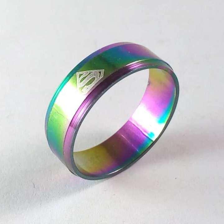 The Big Stitch Superman Multicolored Steel Ring