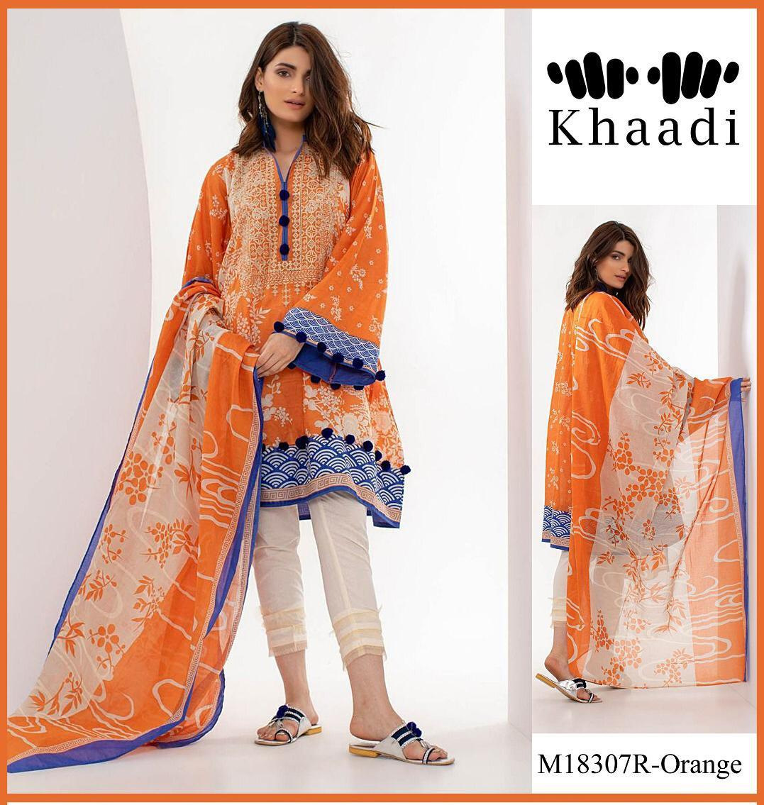 8a679643b3 LIGHT ORANGE 3pc Heavy Emb Patch Un-stitched suit for girls summer  collection 2019