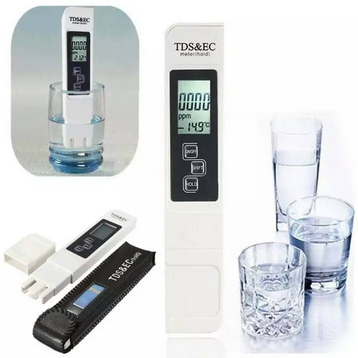 3 IN 1 TDS&EC Meter Digital Portable Pen Water Quality Tester TDS & EC Temperature Water Filter Purity Pen Digital Portable Filter Tool TDS Range 0-9990ppm With Leather Bag