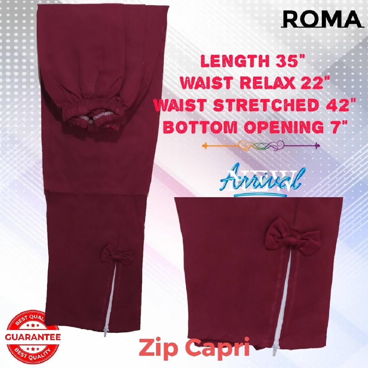 ROMA Store Cotton Zip Capri for Women