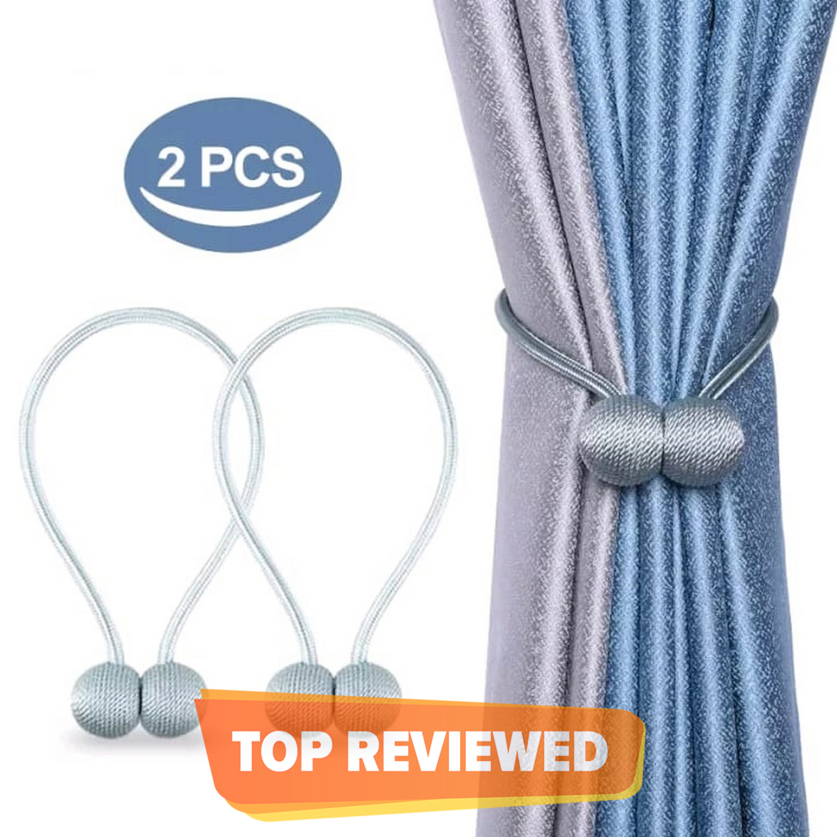 2 PCS Magnetic Curtain Buckle Magnetic Curtain Tiebacks Convenient Drape Tie European Style Decorative Weave Rope Curtain Rings & Buckles Holder for Window Sheer Blackout Draperies, Parday