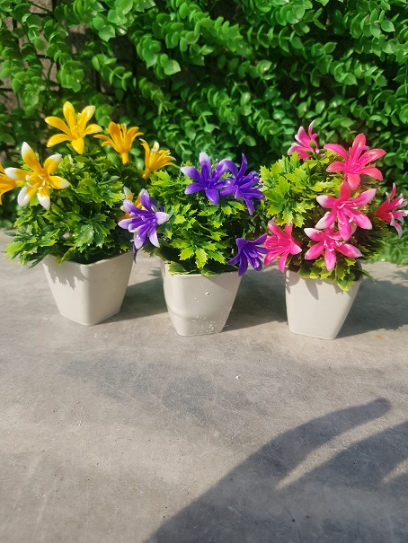 Pack of 3 Mini Plant Artificial Decoration Piece with pot Best for home & Office Decoration purpose