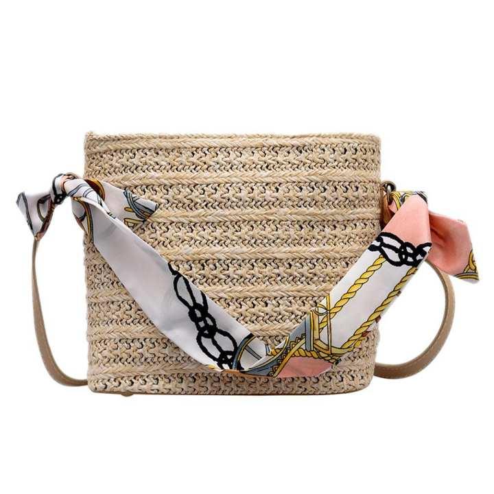 Square Straw Bags Women Woven Beach Holiday Handbag Shoulder Messenger Tote