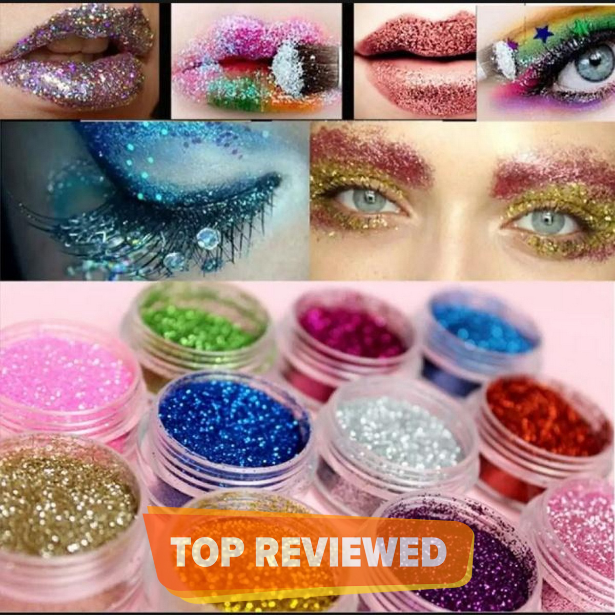 Pack Of 12 - Dusty Glitter Eyeshadows super festival makeup shimmer and shine face jewels Make up Cosmetics pigment body face & eye Shadow