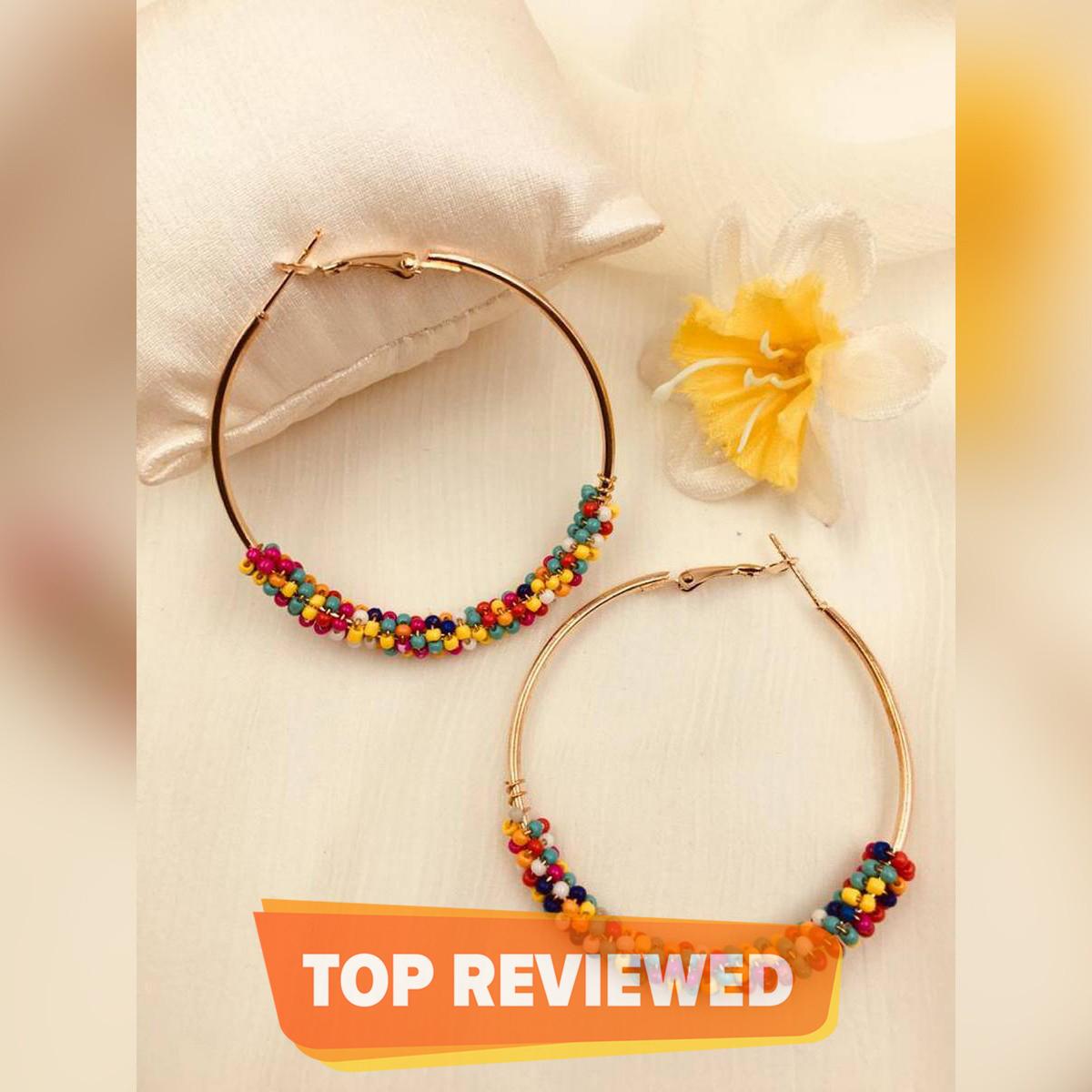 Imported Gajra Bali Earrings Fancy Golden Women Earrings Small Multi Pearl Circle Earrings