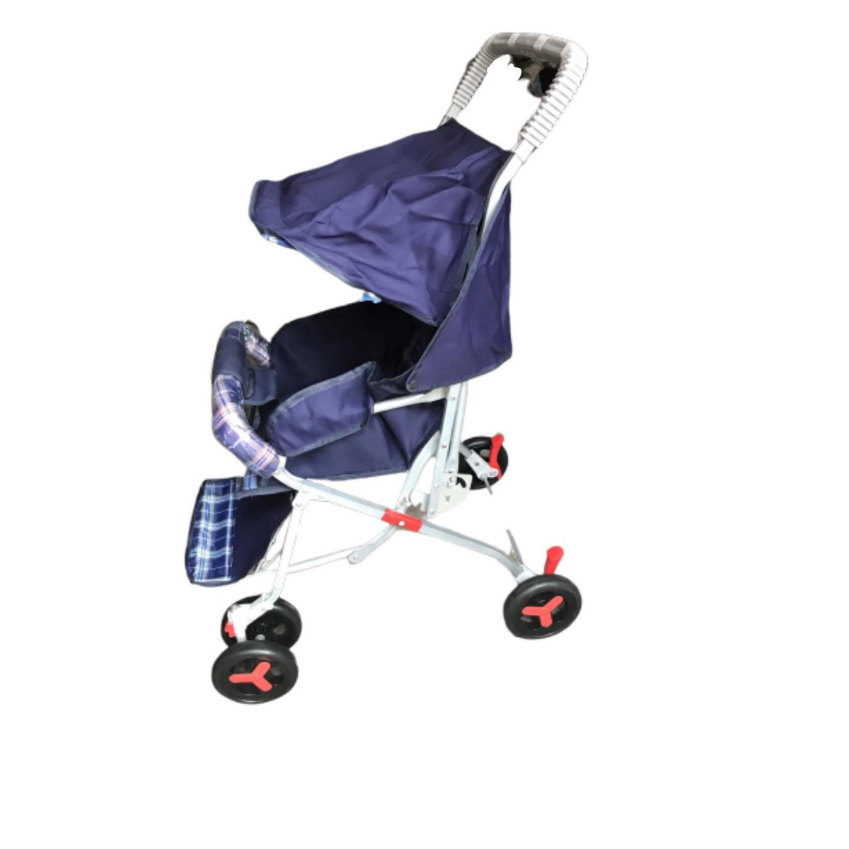Alloy Foldable Baby Stroller Pram For Newborn  Blue color with  6 Big Tyres