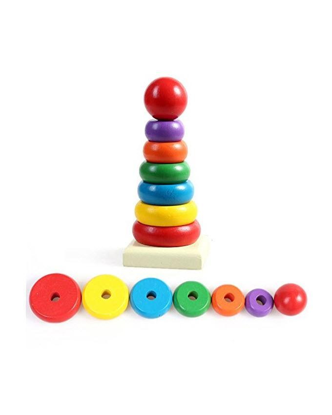 Wooden Stacking Ring Tower Educational Toy - Multicolor