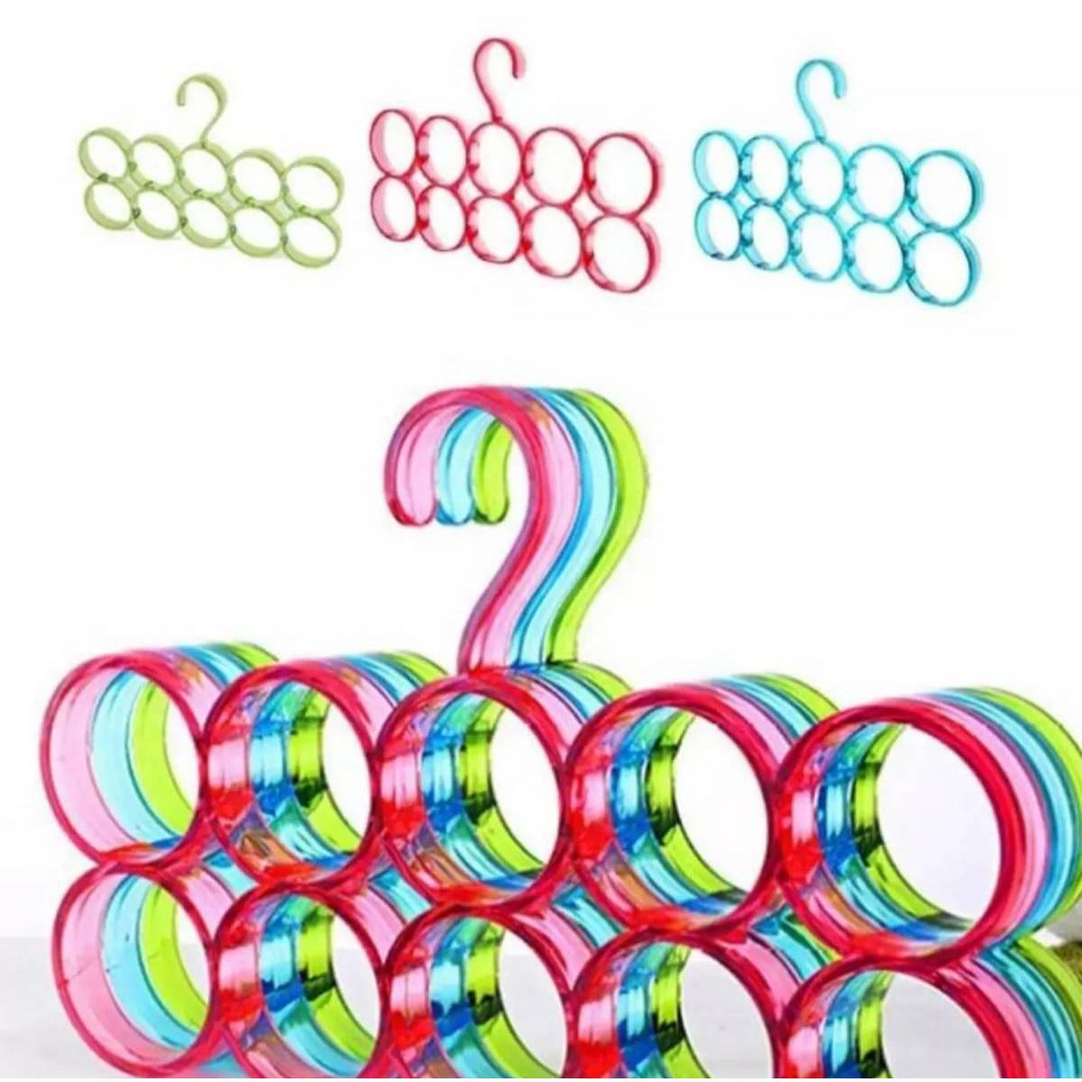 10 Rings Hole Plastic Coat Hanger Multifunctional Circle Shape Scarf Belt Tie Display Slots Holder Hole Design Bathrobe Organizer