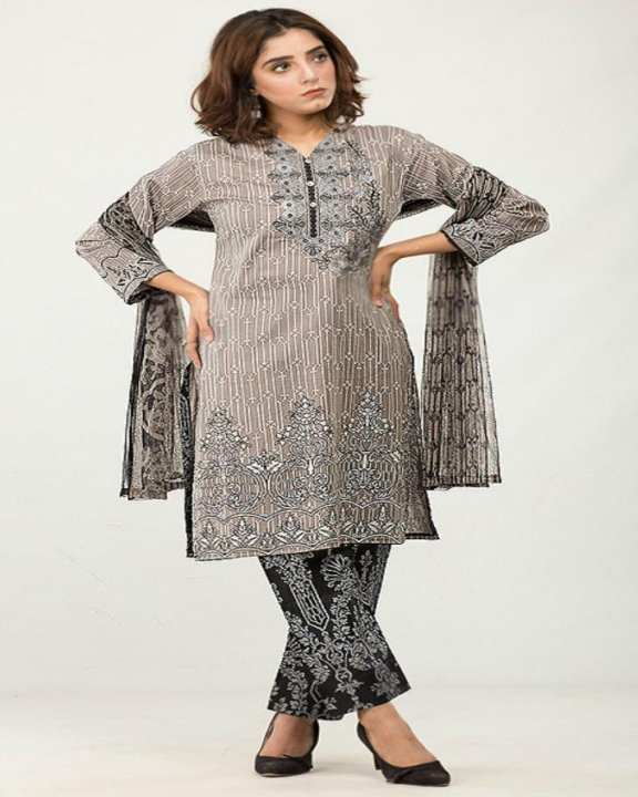 Grey Black Floret Embroidery Unstitched Lawn - 3pcs