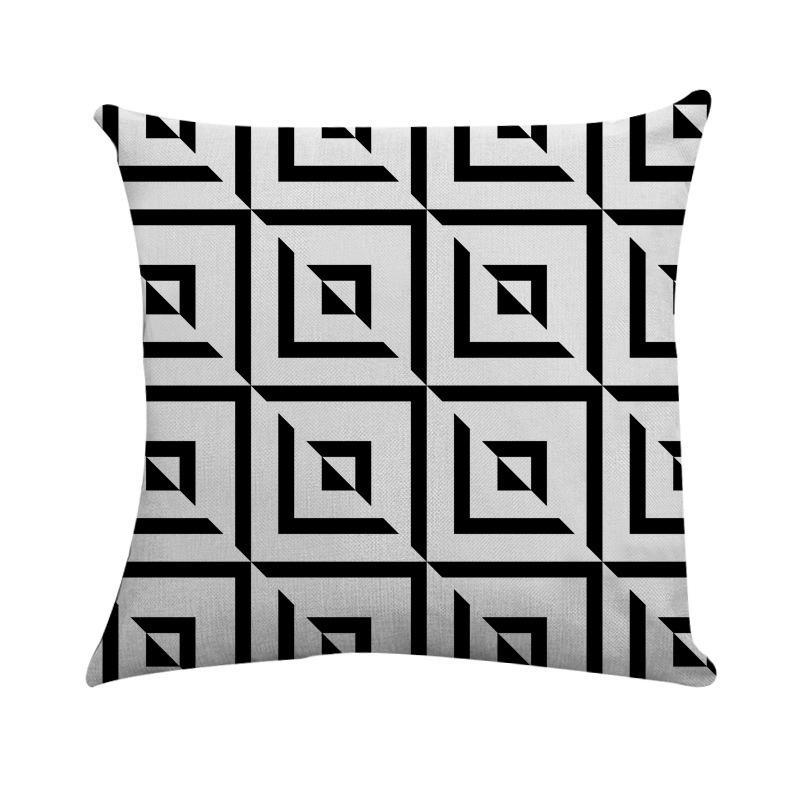 Black Cushion Cover Geometry Deer Print Linen Square Pillow Case 45 X 45cm