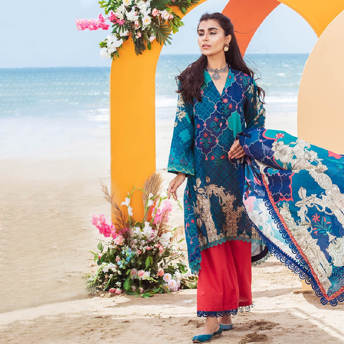 Maahru Azure Cosmos - Women's Unstitched 3PC Summer Printed Lawn with Dupatta