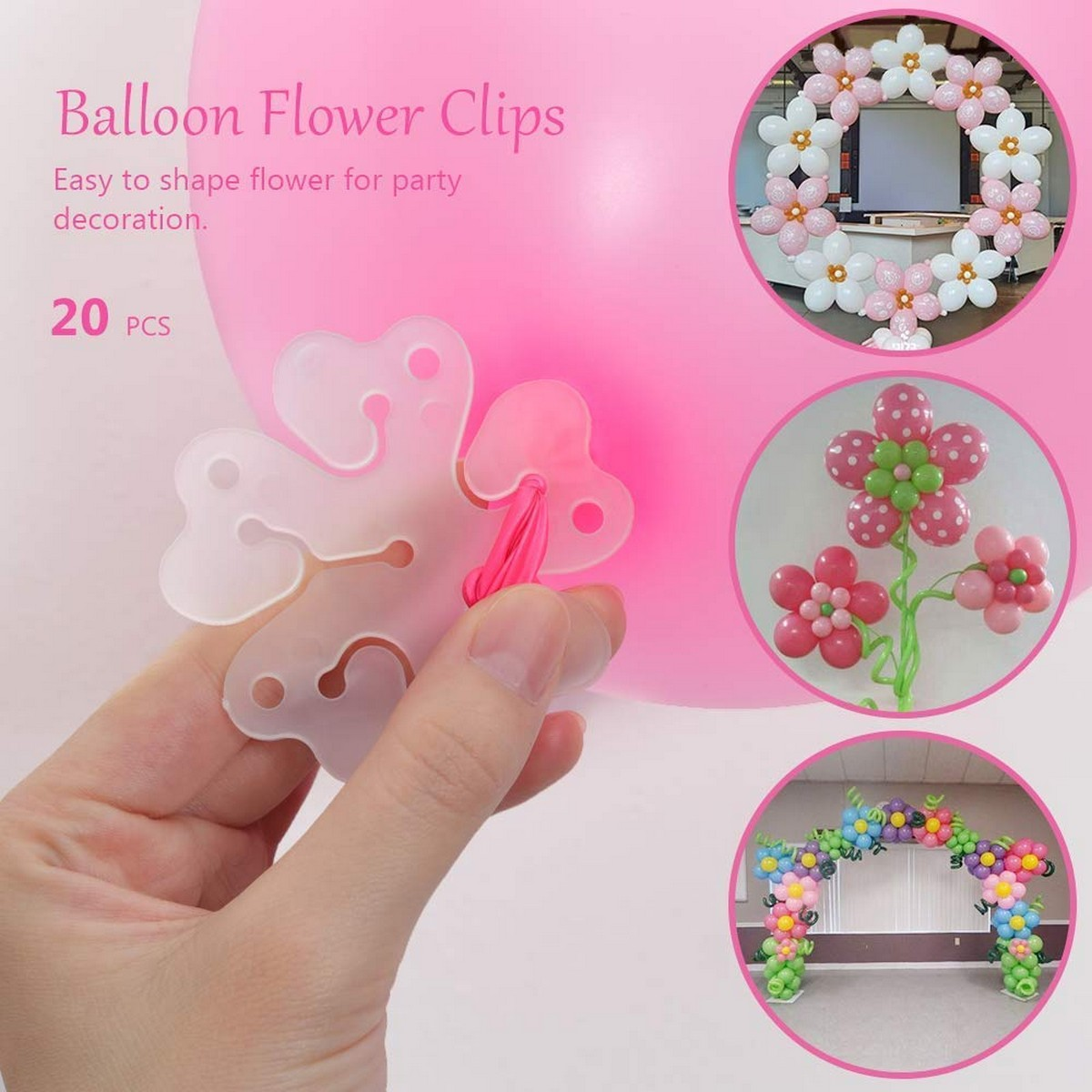 Pack of 20 pcs Balloon Flower Clips -Original Packing Plastic Flower Balloon Clips Closures - Make Flower Design Balloon for Wedding Birthday Party Holiday Decoration.