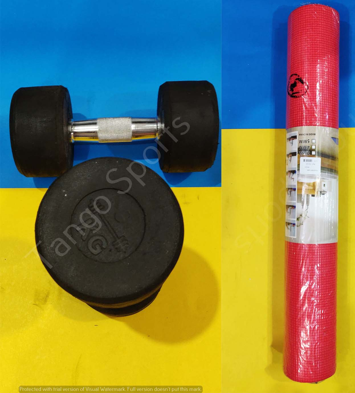 1kg Rubber Dumbell with yoga mat - Ladies workout set