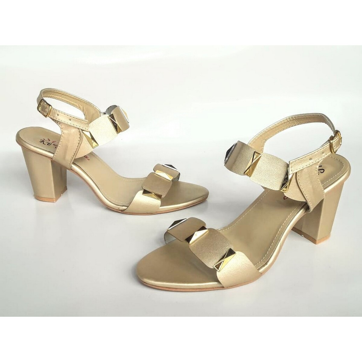 Stylish Pazaib Shoes High Block Heel Double Banded Sandal For Women