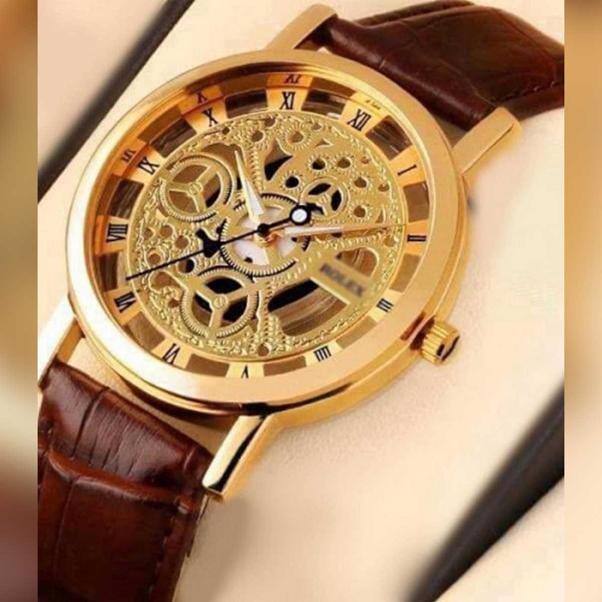 BWS Men Casual Leather Mechanical Wrist Watch(black & golden) !