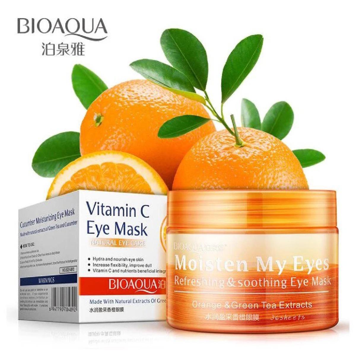Bioaqua Vitamin C Orange Eye Mask Remove Dark circle Moisturizing Anti-wrinkle Anti-aging Eye Masks 80g - BQY4991